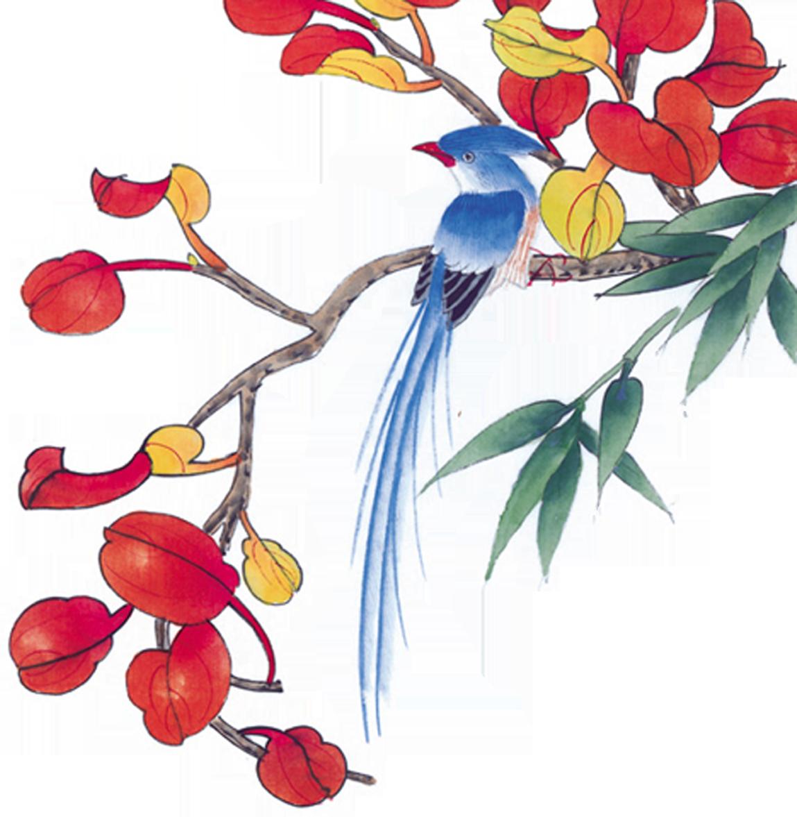 赤い花のイラストフリー素材no612枝にとまる尾長鳥