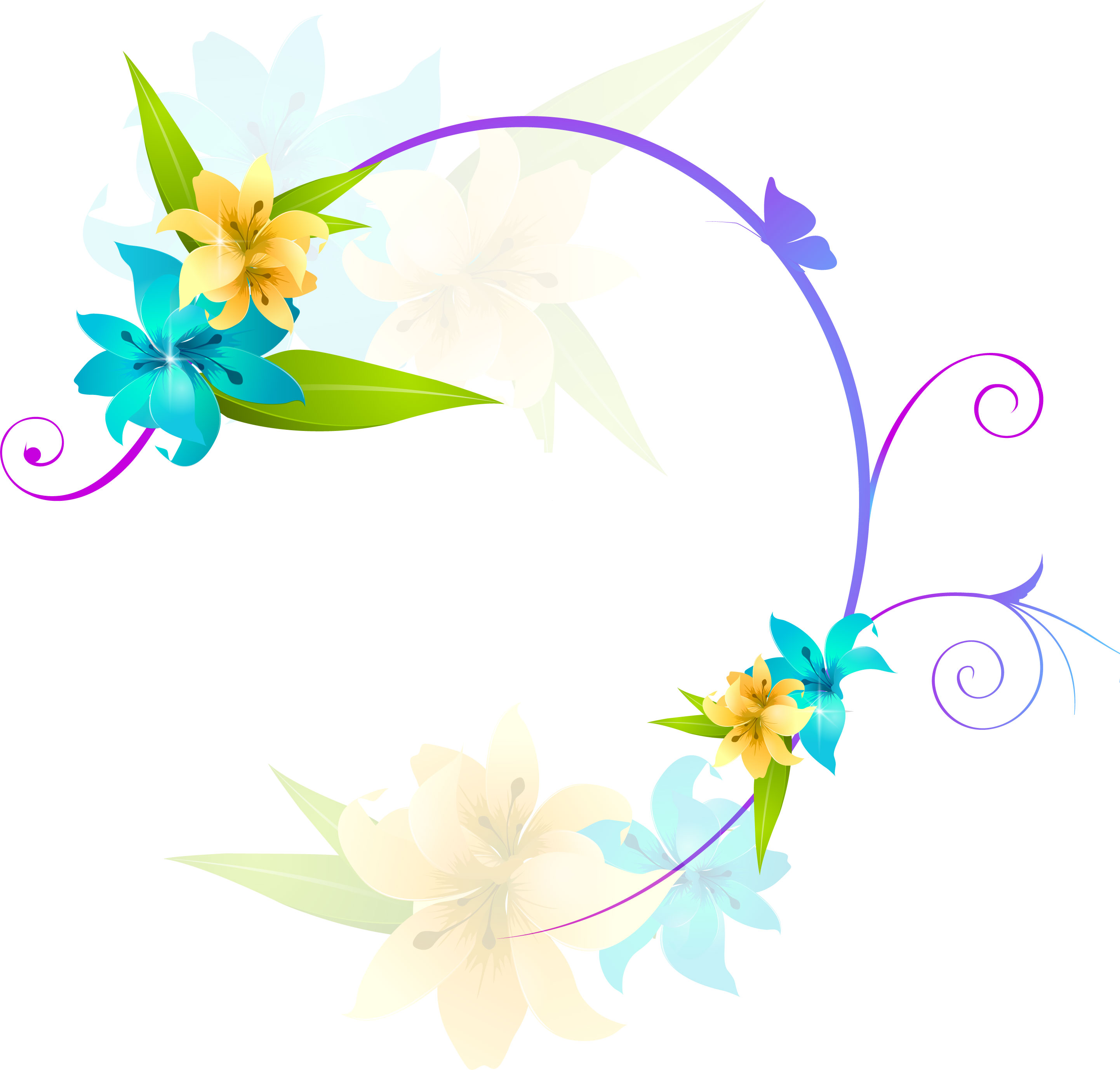 百合ゆりの花の画像イラストフリー素材no165ユリ黄青蝶