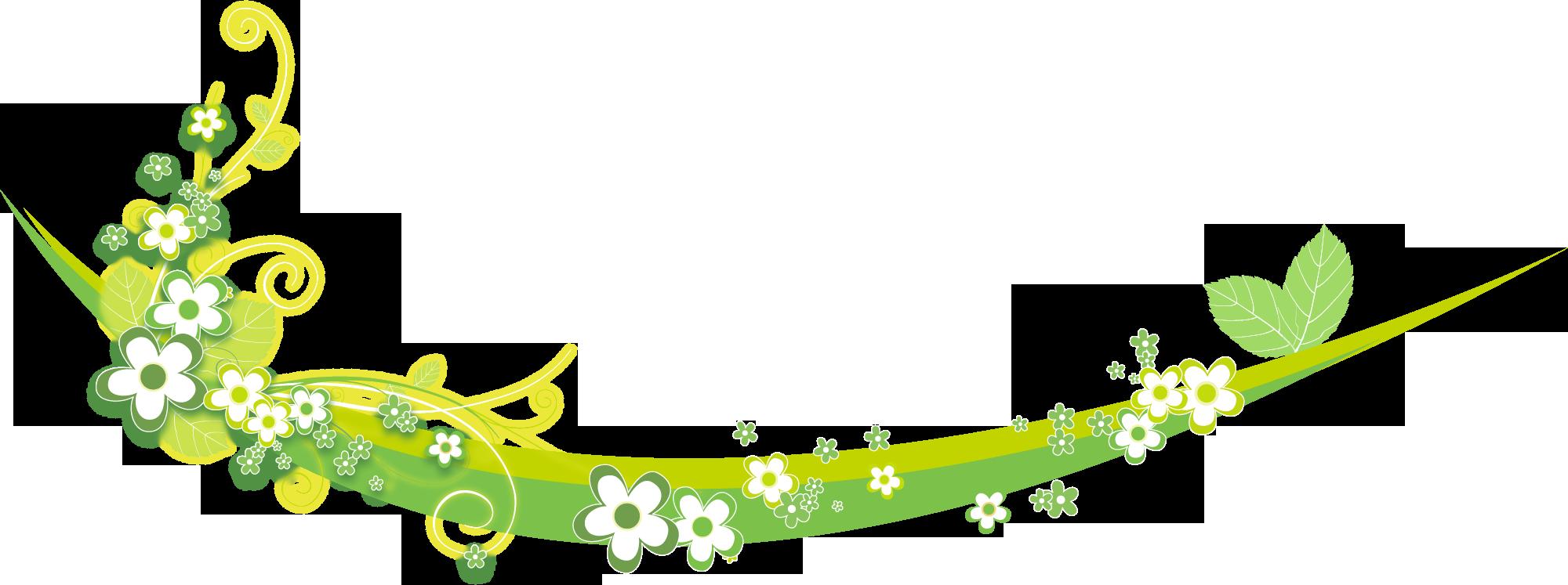 花のイラスト・フリー素材/フレーム枠no.102『黄緑・葉』