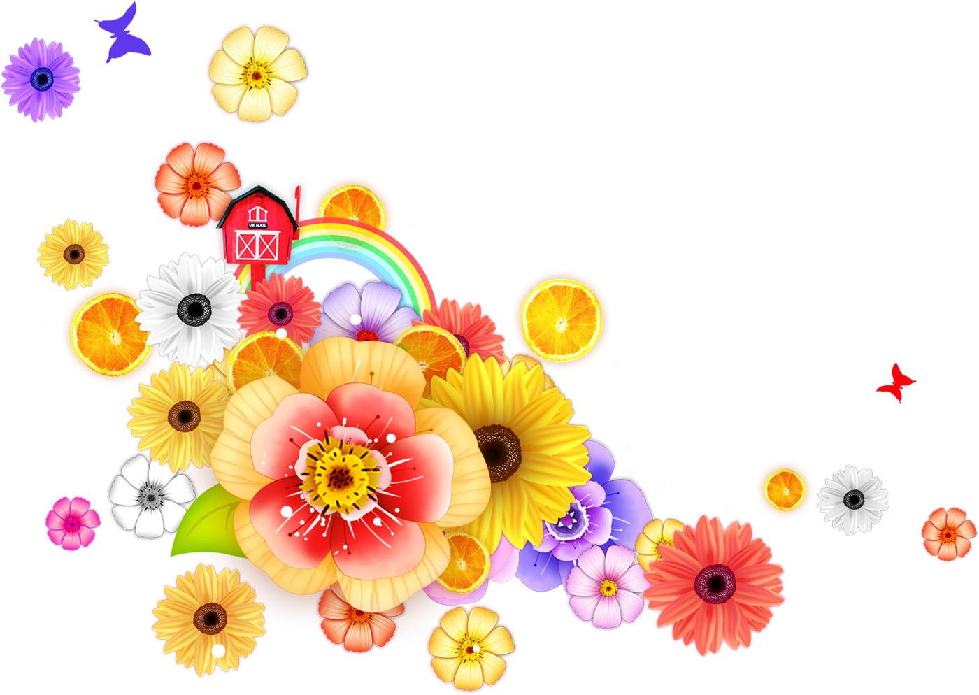 ポップでかわいい花のイラスト・フリー素材/no.337『カラフルフラワー』