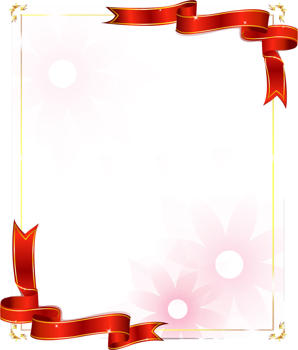 花のイラスト・フリー素材/フレーム枠no.514『レッドリボン・淡い』