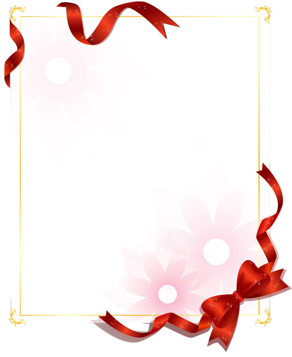 花のイラスト・フリー素材/フレーム枠no.515『レッドリボン・淡い』