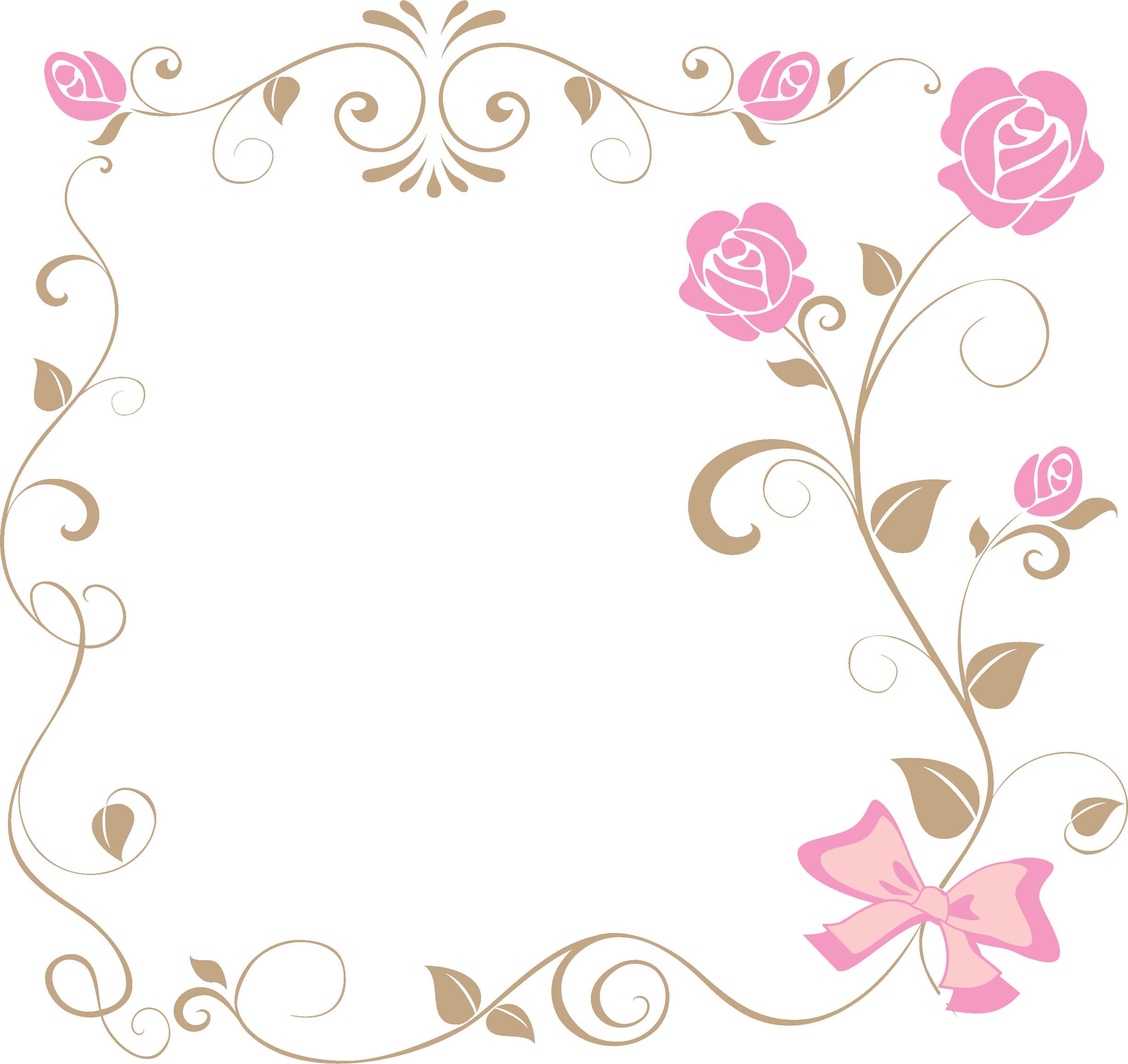バラの花の画像・イラスト『フレーム・タイトル枠』/無料のフリー素材