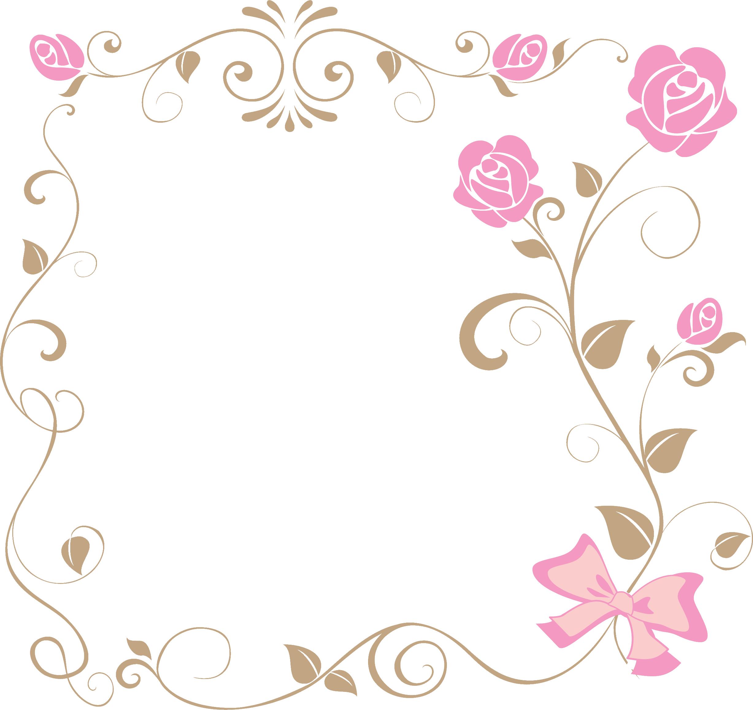 ポップでかわいい花のイラストフリー素材no953ピンクのバラリボン