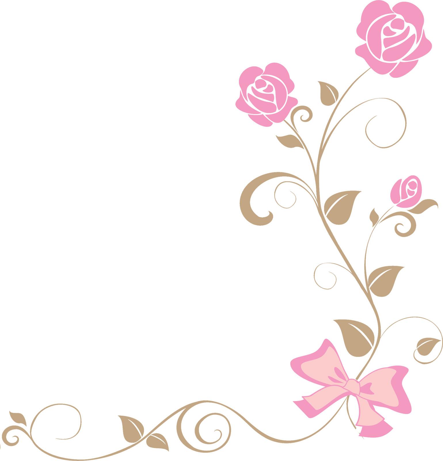 ポップでかわいい花のイラストフリー素材no207ピンクのバラリボン
