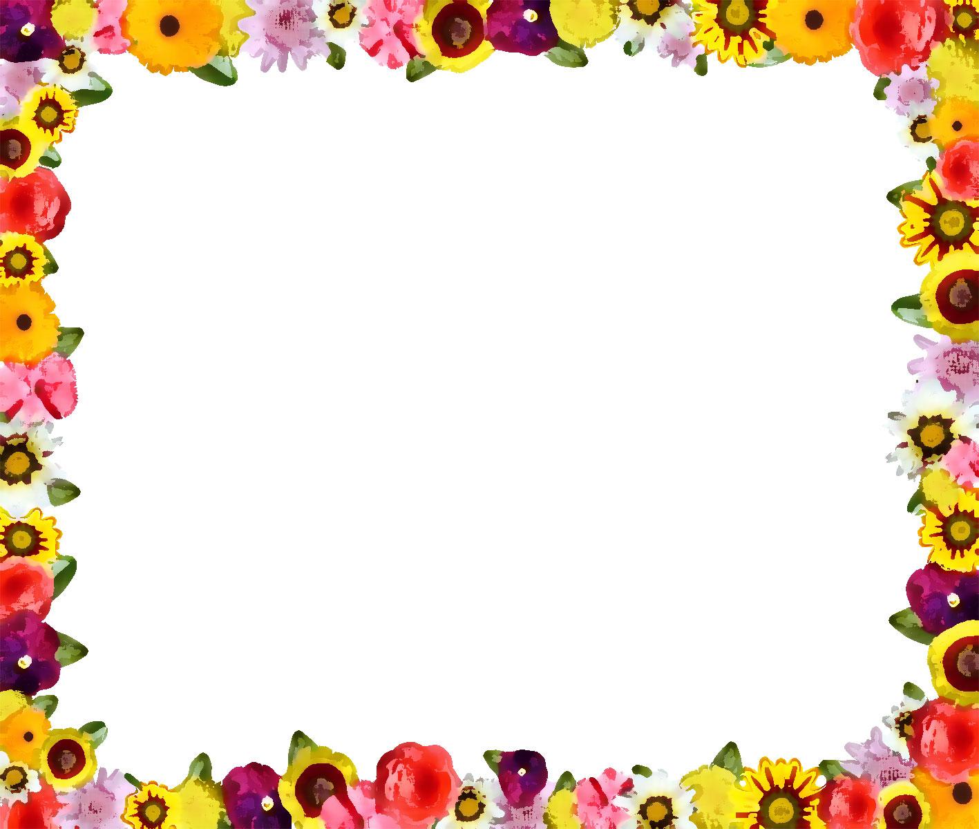 花のイラスト・フリー素材/フレーム枠no.691『カラフルフラワー・小』