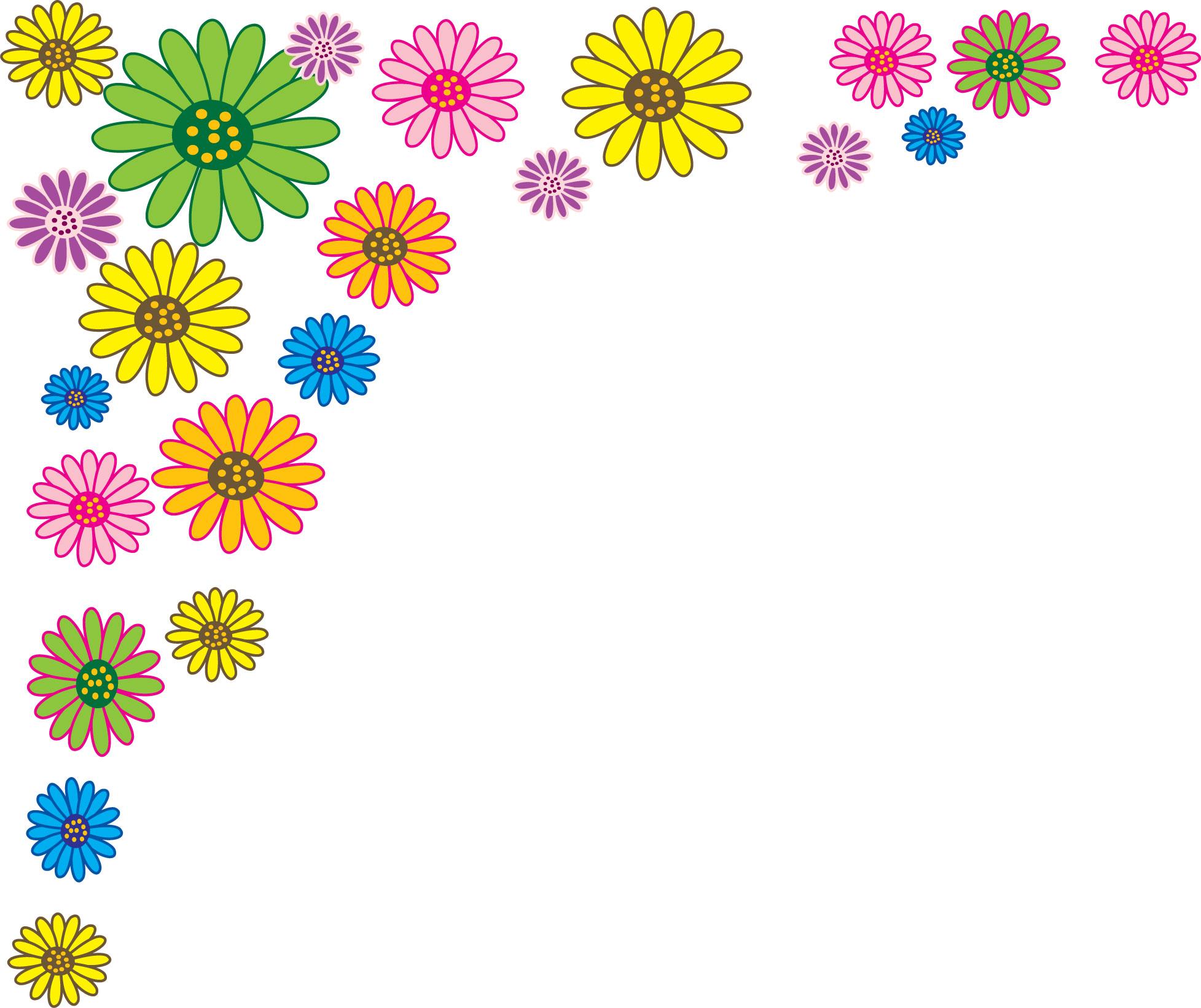 ポップでかわいい花のイラスト・フリー素材/no.338『カラフル』