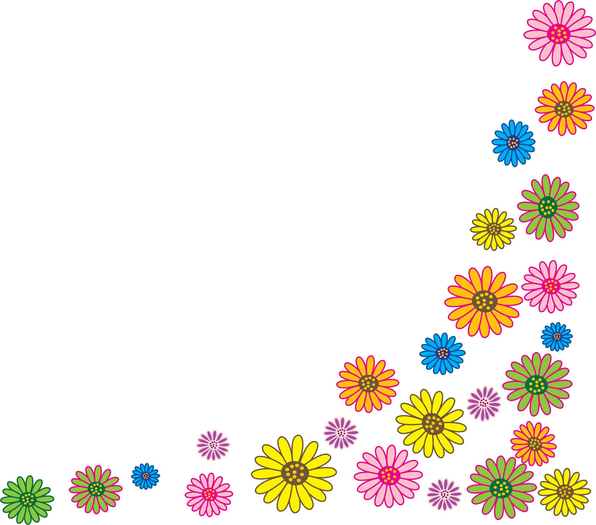 花のイラスト・フリー素材/コーナーライン・角-no.100『カラフル』