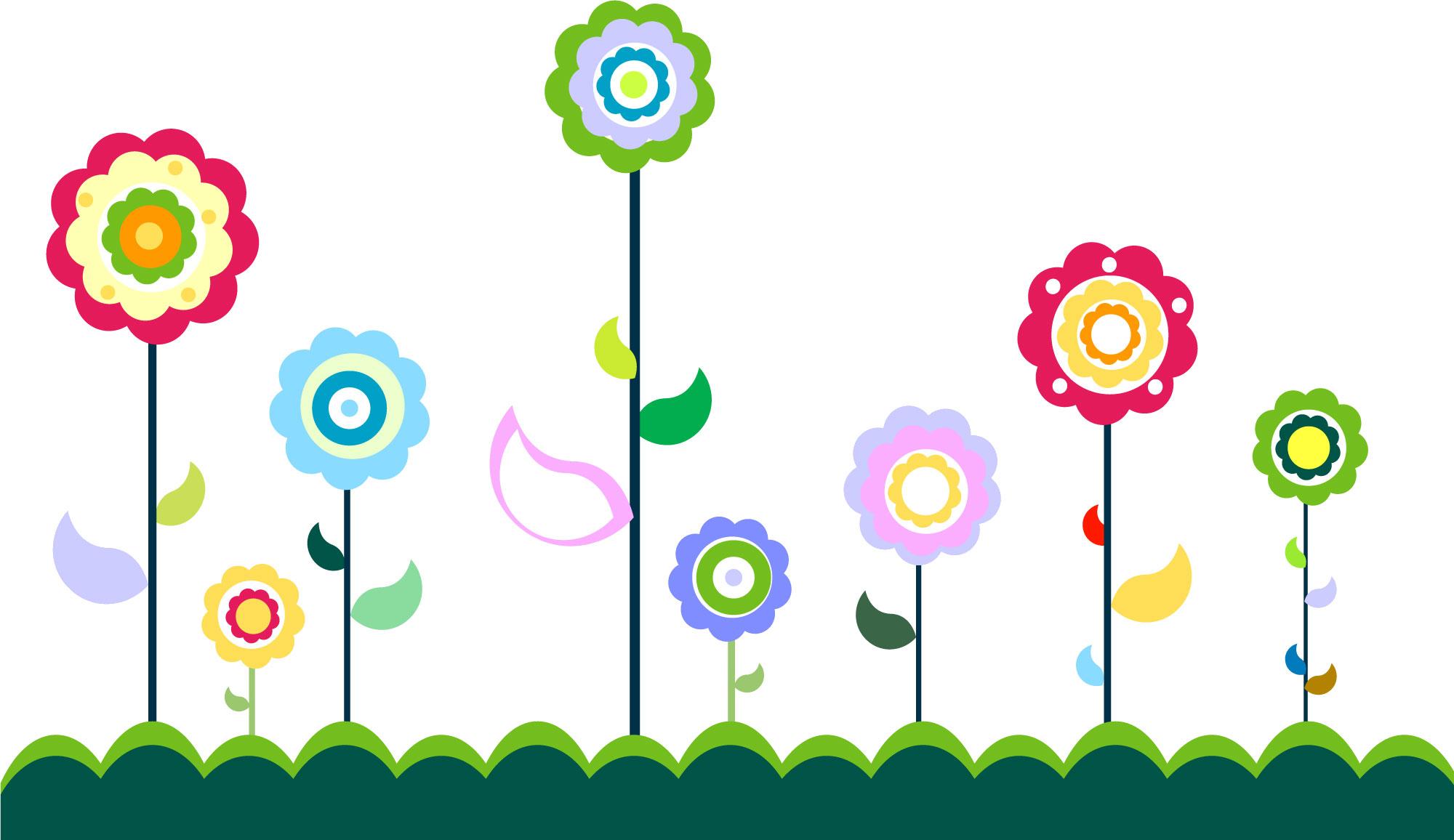 ポップでかわいい花のイラスト・フリー素材/no.053『カラフルフラワー』