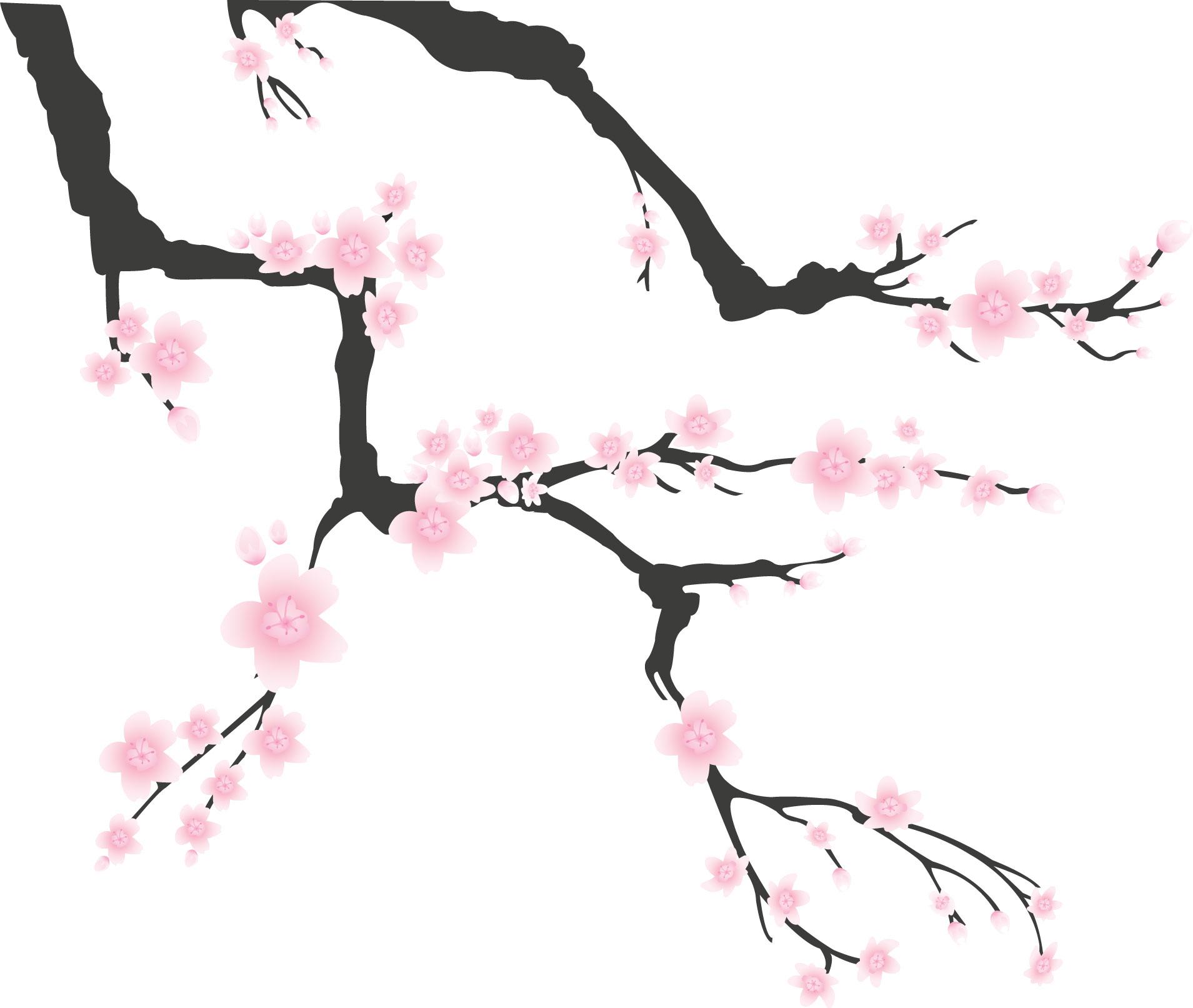 リアルな花のイラストフリー素材角コーナー用no1544梅桃桜