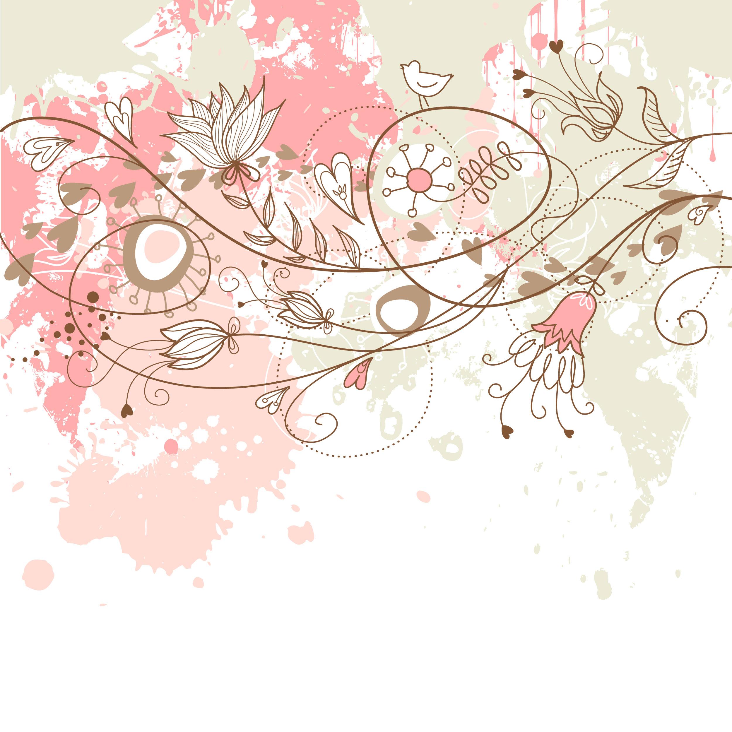 ポップでかわいい花のイラスト・フリー素材/no.213『赤緑ピンク・鳥』