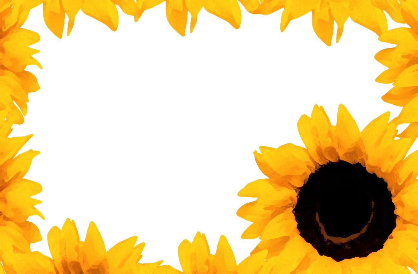 花のイラスト・フリー素材/フレーム枠no.693『ひまわり』