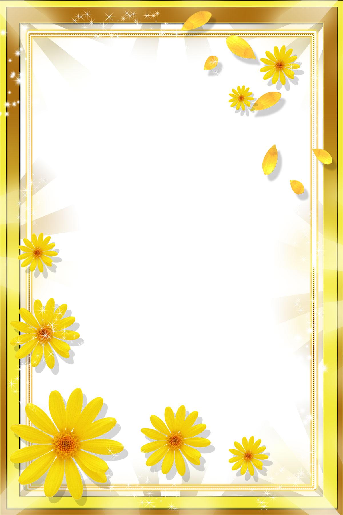 花のイラスト・フリー素材/フレーム枠no.661『大小ひまわり』