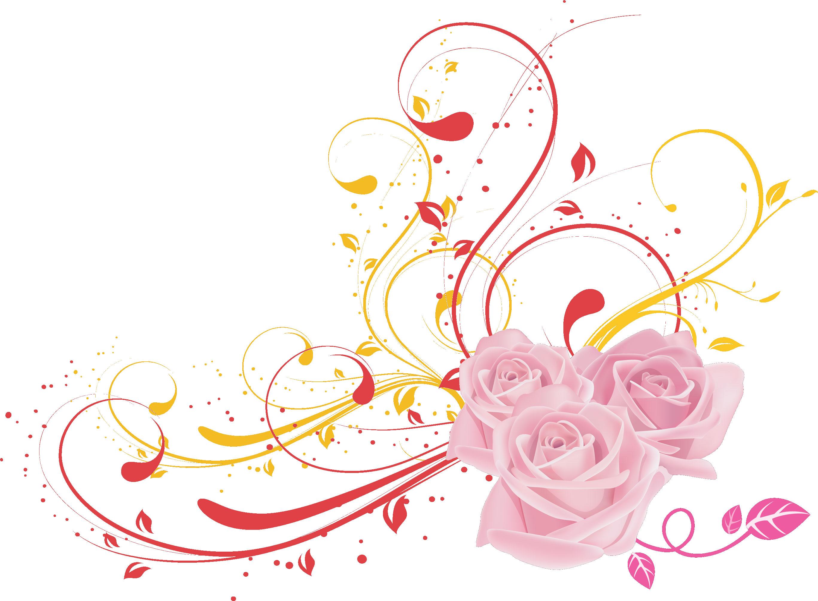 バラの画像イラストフリー素材no359ピンクのバラ葉
