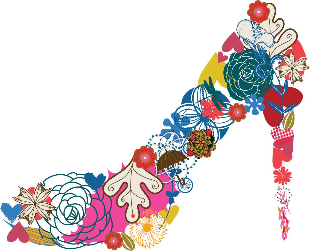 お花や様々なモチーフでハイヒール作り上げたおしゃれなイラスト