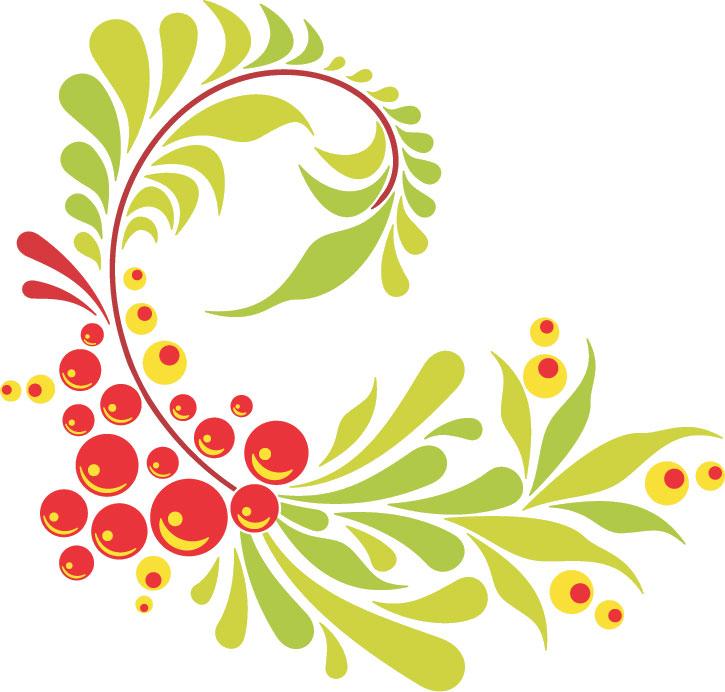 ポップでかわいい花のイラストフリー素材no341赤黄緑実葉