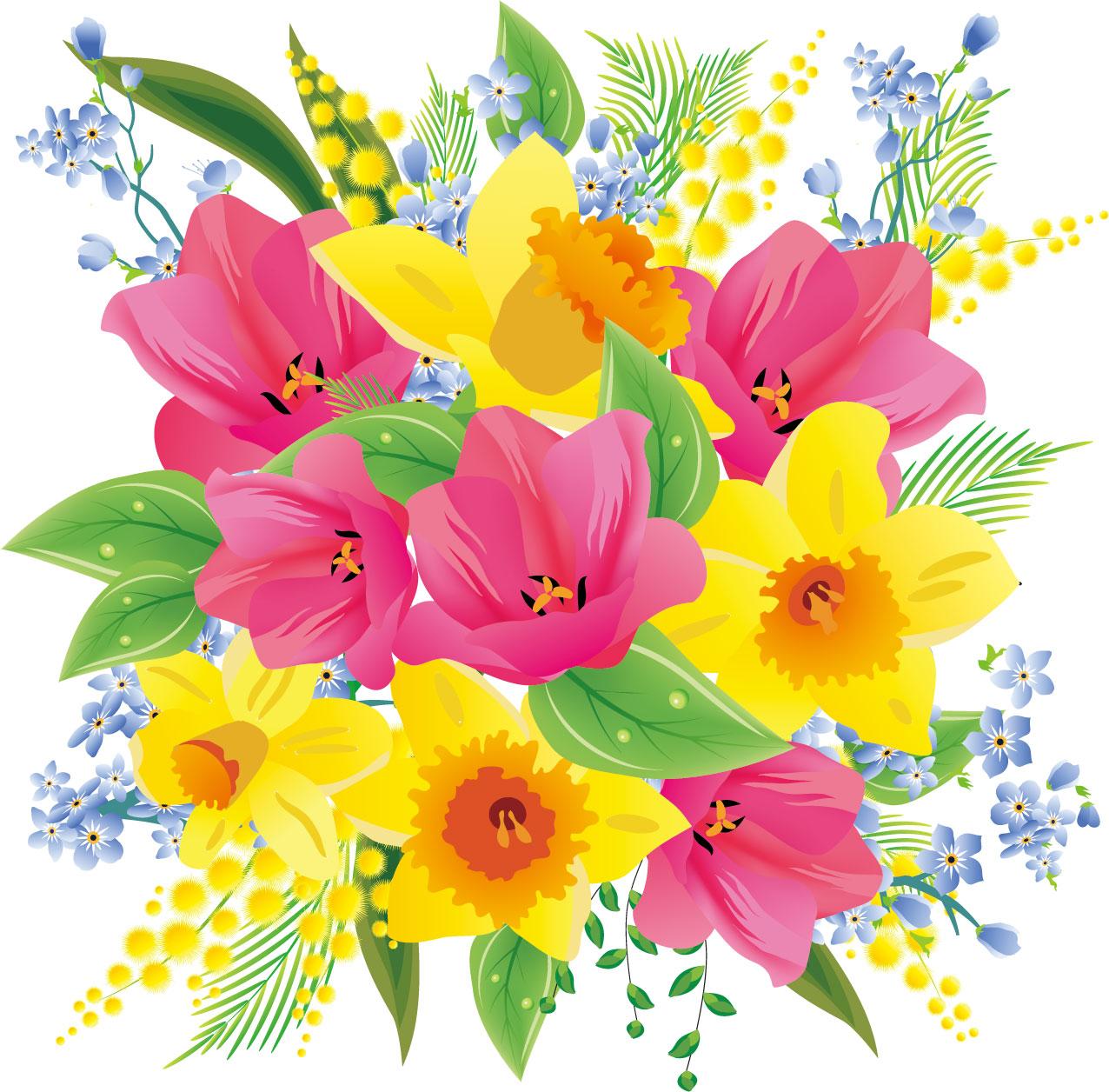 花のイラスト・フリー素材/花束no.065『ピンク・黄色の水仙』
