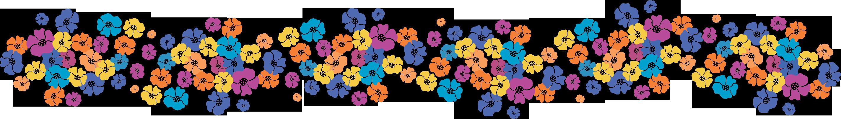 ポップでかわいい花のイラスト・フリー素材/no.318『カラフルボーダー』