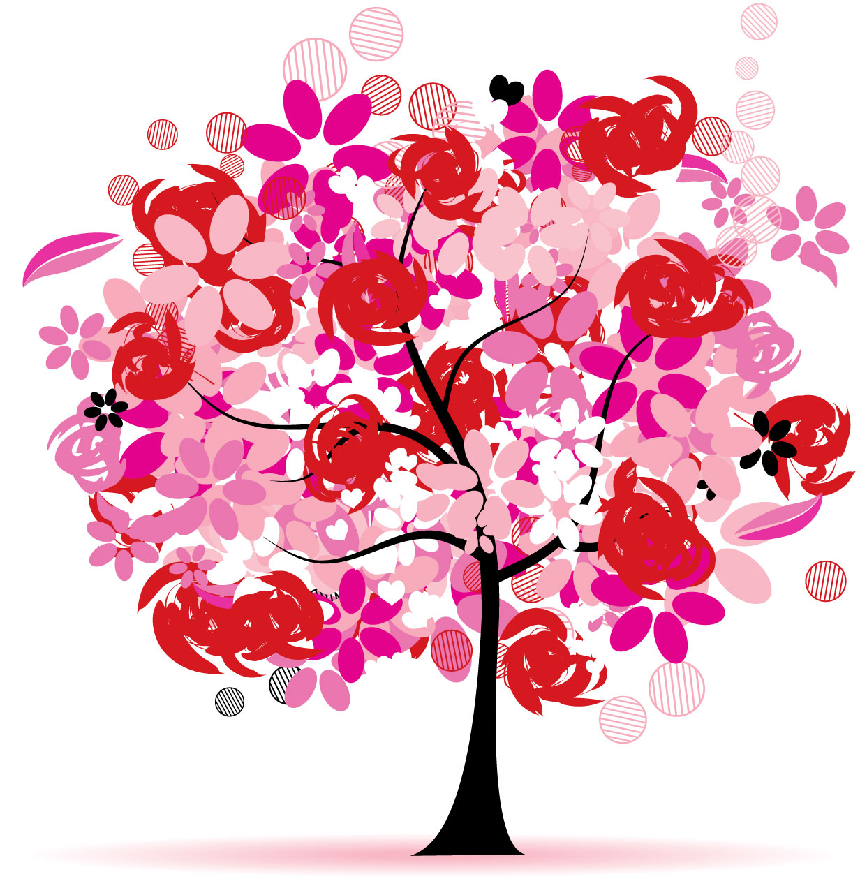 ポップでかわいい花のイラスト・フリー素材/no.259『春の樹木・赤紫