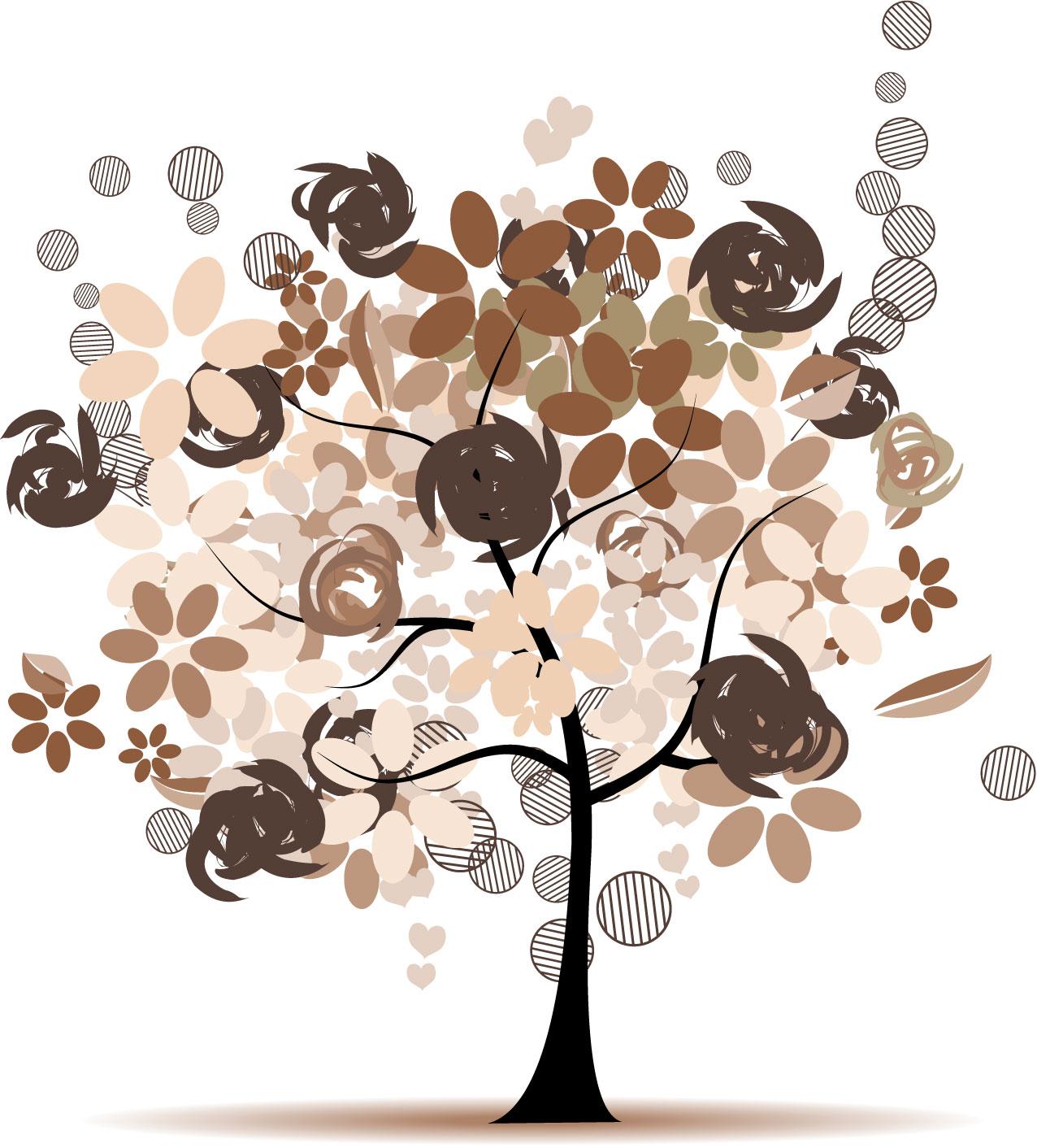 ポップでかわいい花のイラスト・フリー素材/no.261『秋の樹木・茶』