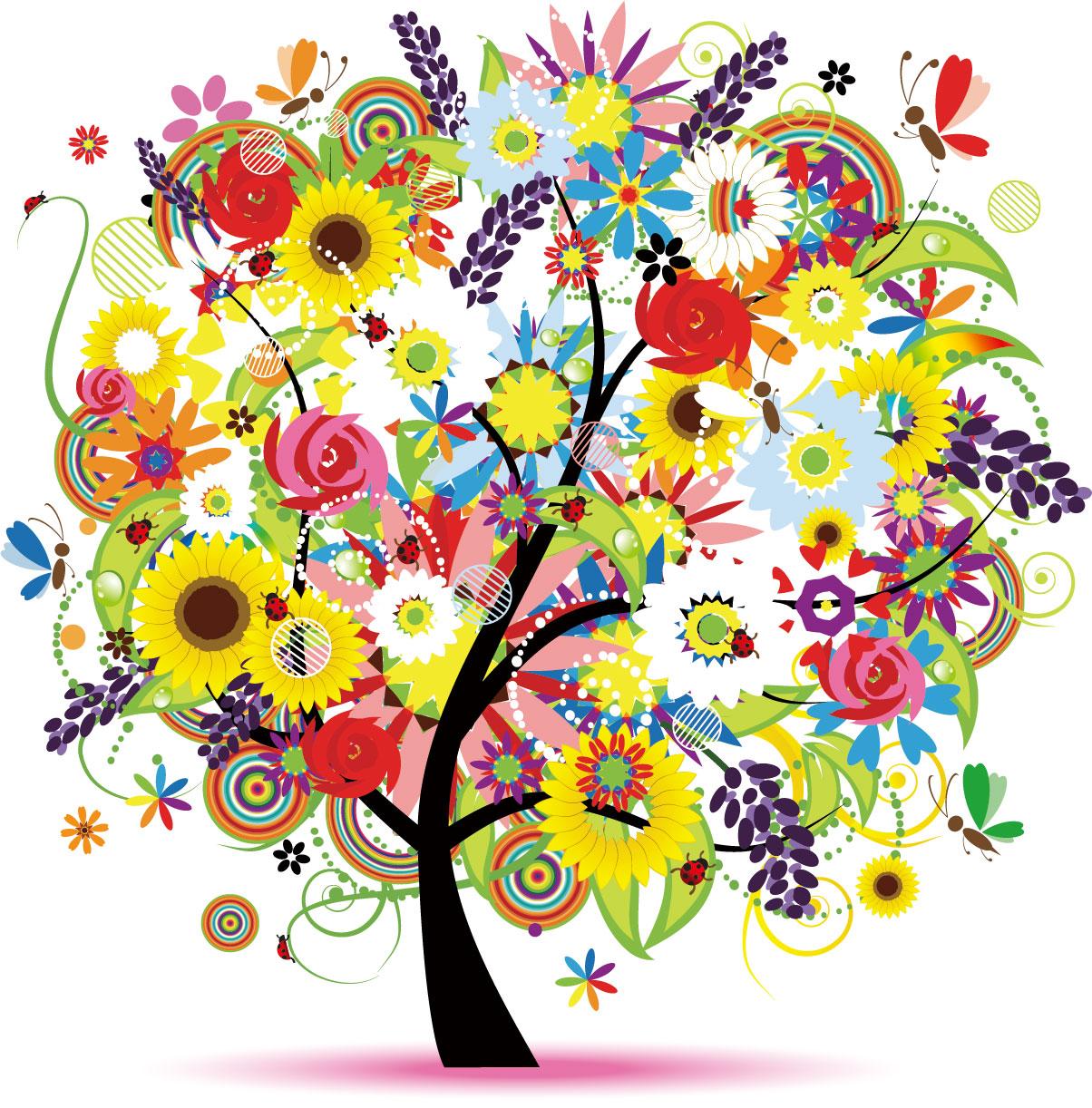 ポップでかわいい花のイラスト・フリー素材/no.263『カラフルツリー』