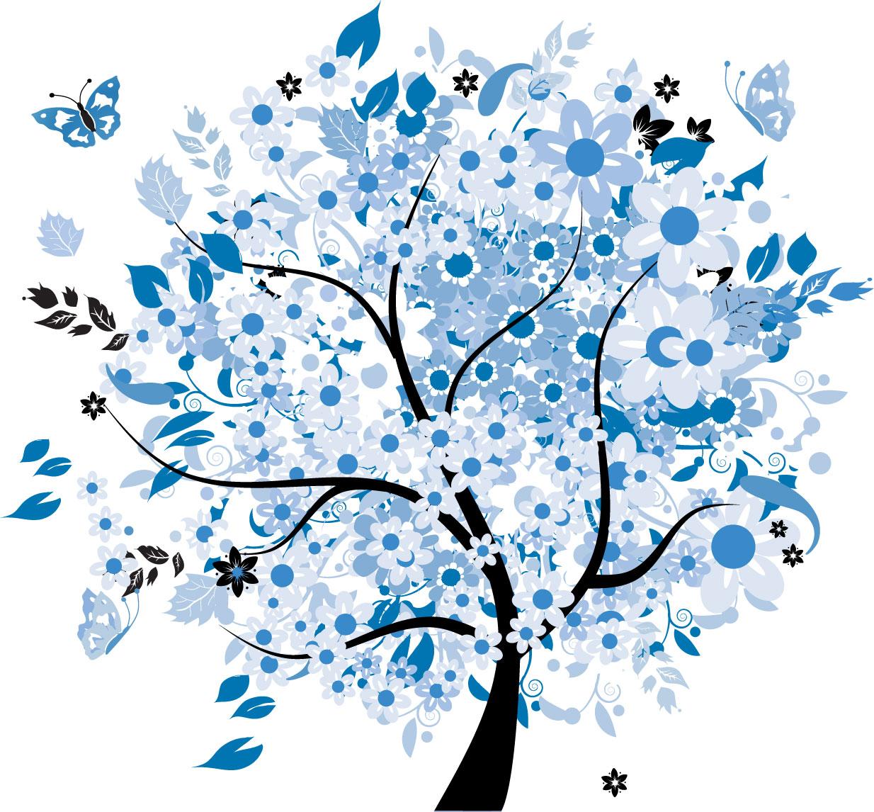 ポップでかわいい花のイラスト・フリー素材/no.267『冬の樹木・青白水色』