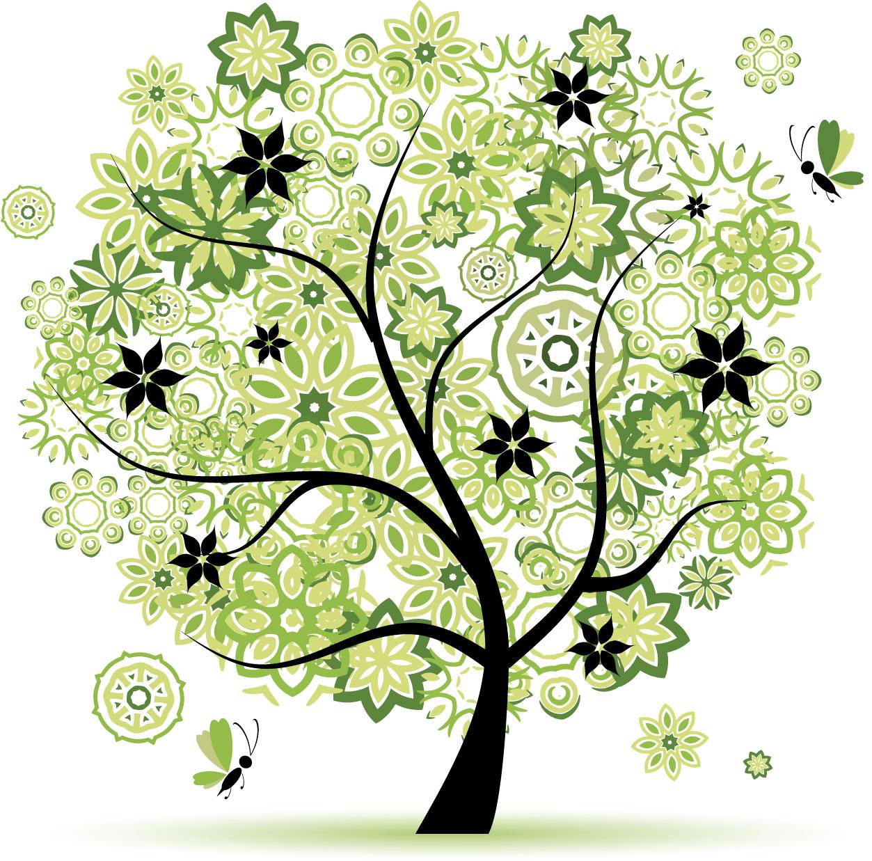 ポップでかわいい花のイラスト・フリー素材/no.268『夏の樹木と蝶・黄緑白』