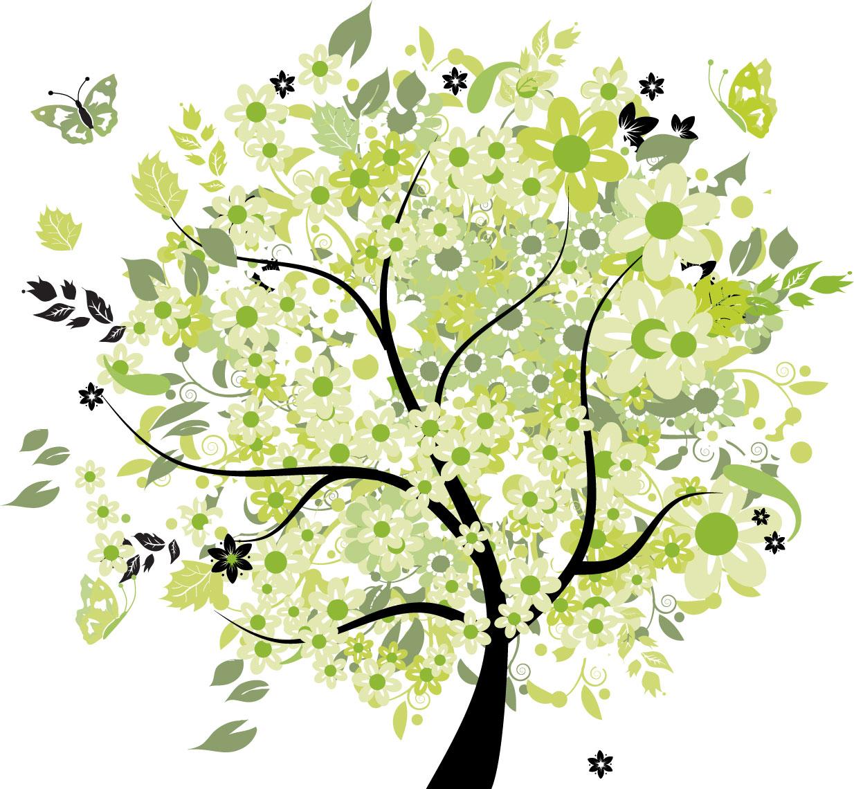 ポップでかわいい花のイラスト・フリー素材/no.269『夏の樹木と蝶・黄