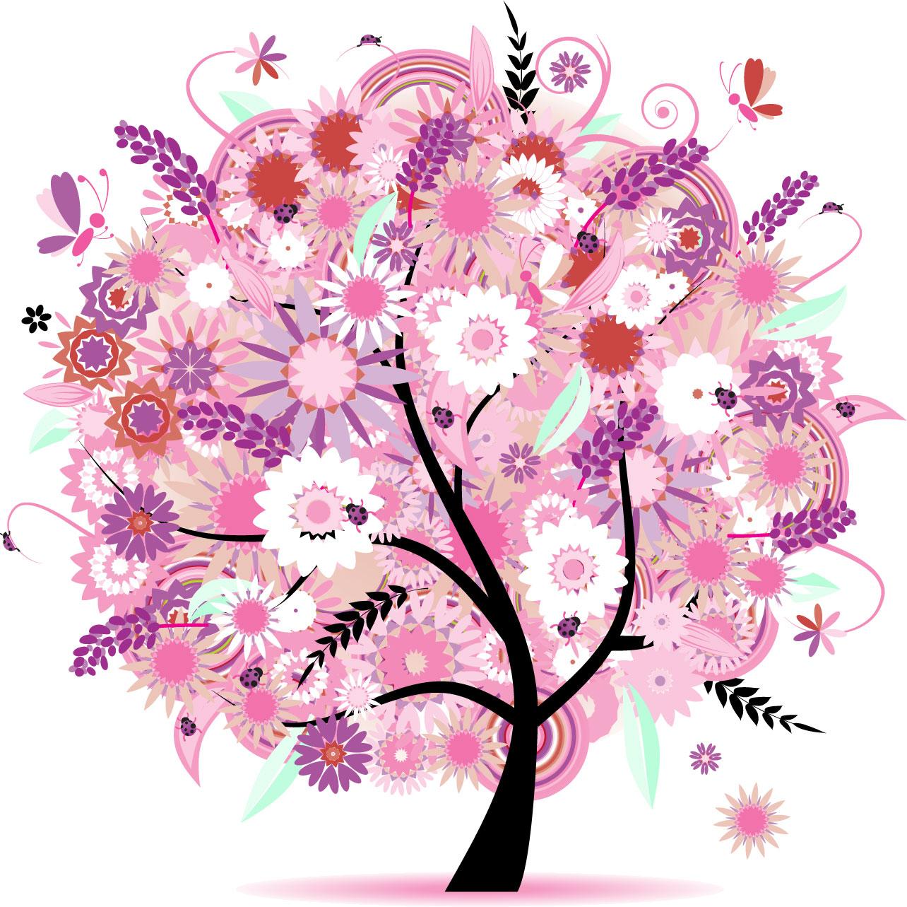 ポップでかわいい花のイラストフリー素材no270春の樹木と蝶