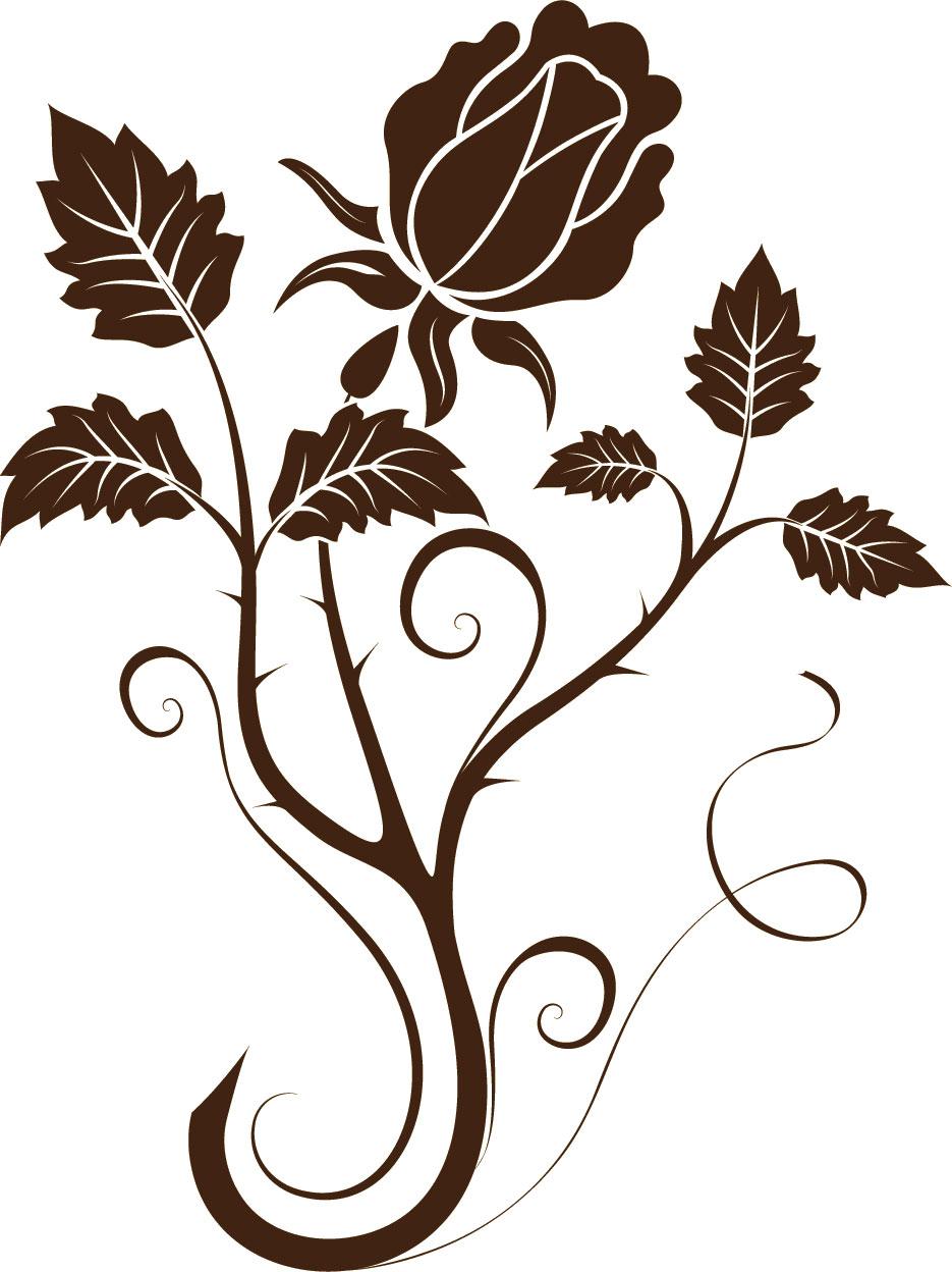 花のイラストフリー素材白黒モノクロno214こげ茶バラトゲ