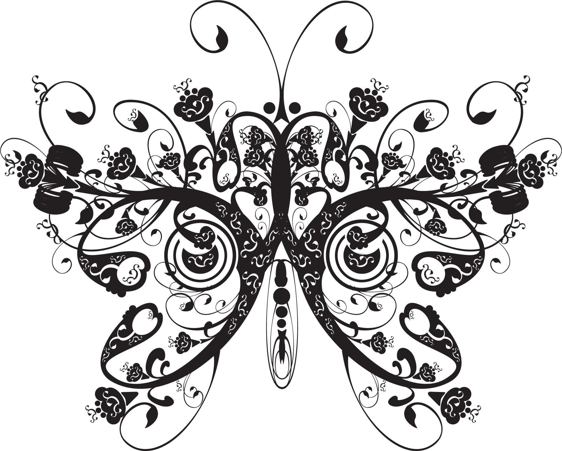 花のイラスト・フリー素材/白黒・モノクロno.576『エレガント52・白黒』