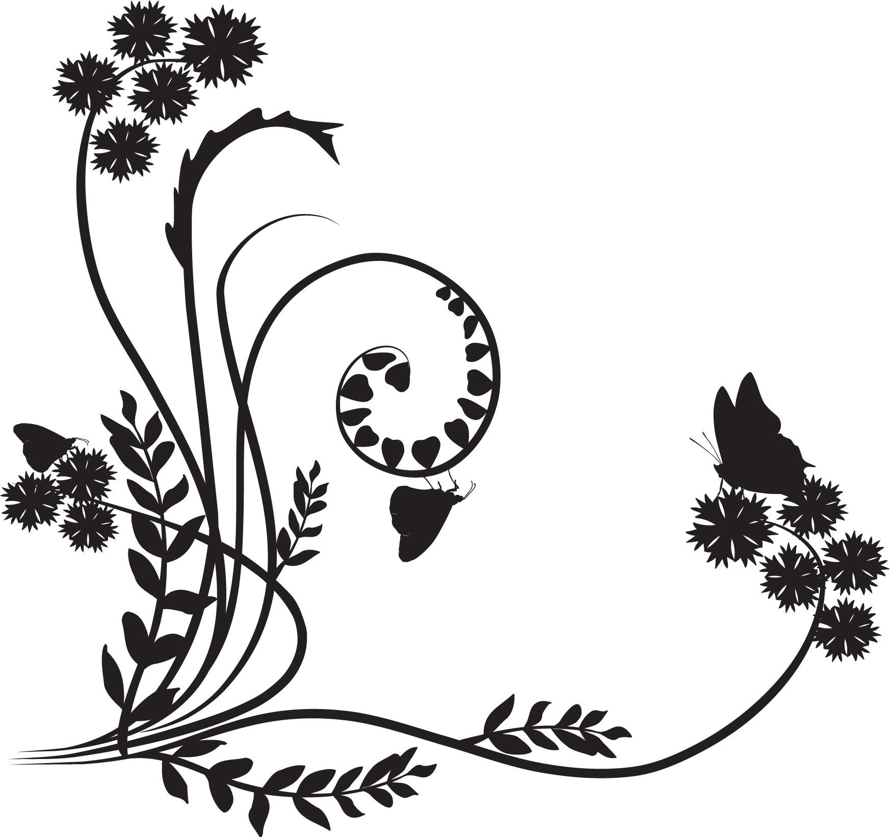 ポップでかわいい花のイラストフリー素材no1184白黒蝶茎葉