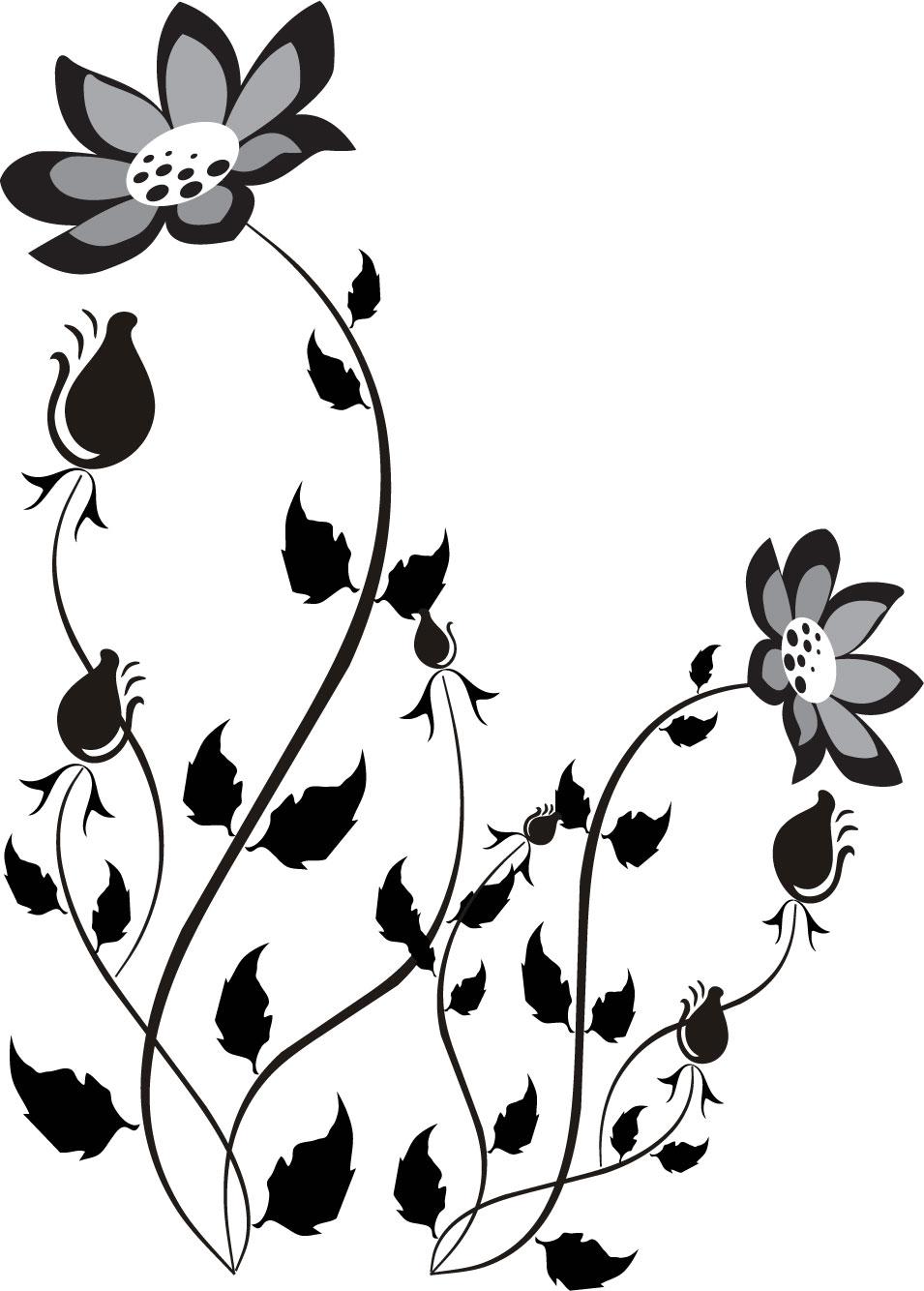 花のイラストフリー素材白黒モノクロno405モノトーン茎葉