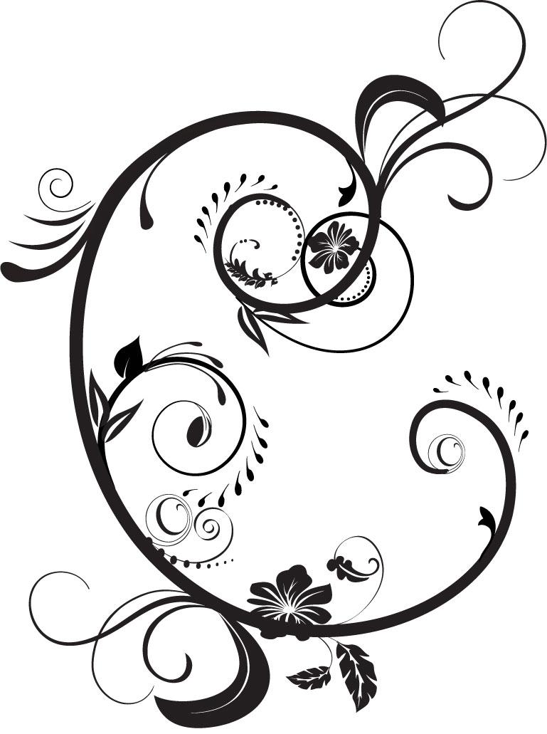 花のイラストフリー素材白黒モノクロno409モノトーン内巻き