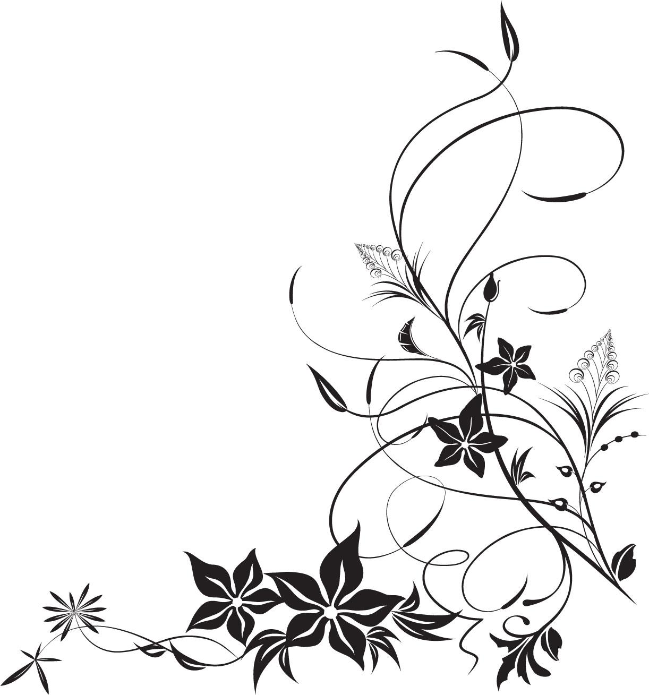 ポップでかわいい花のイラスト・フリー素材/no.1186『白黒・秋』