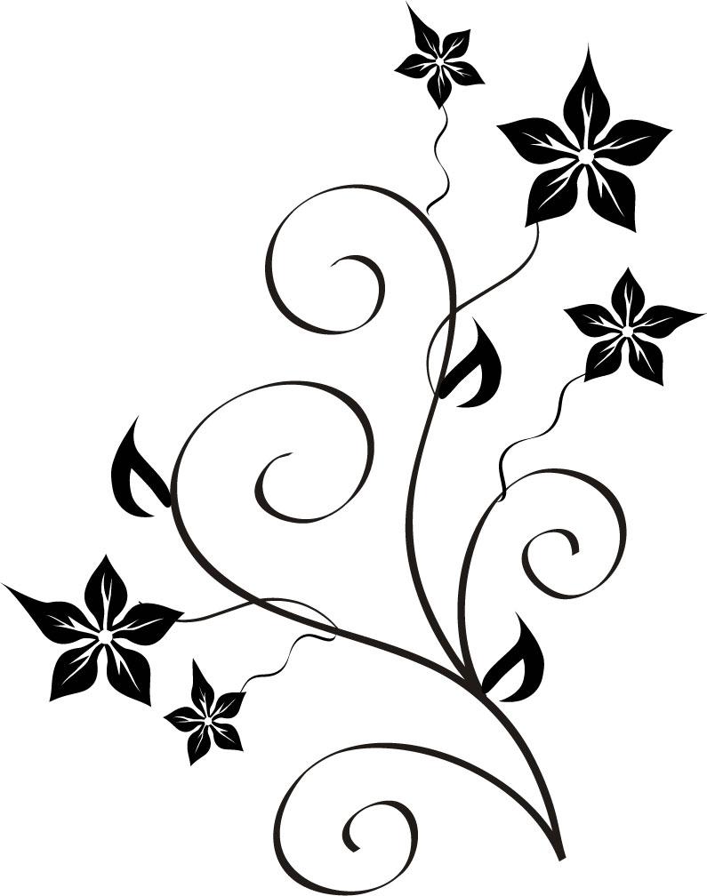 白黒・モノクロの花のイラスト4/無料のフリー素材集【百花繚乱】