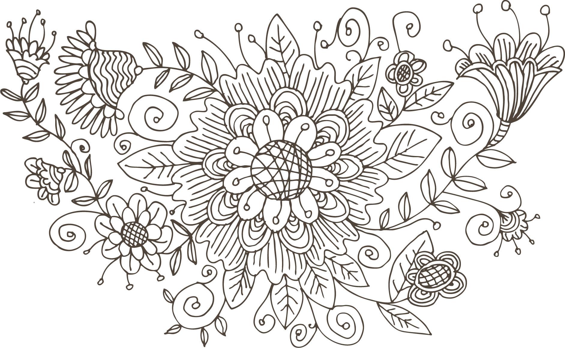 ポップでかわいい花のイラストフリー素材no1094白黒手書き風