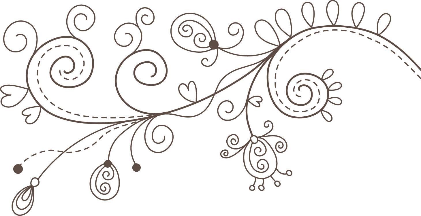 ポップでかわいい花のイラスト・フリー素材/No.1105『白黒
