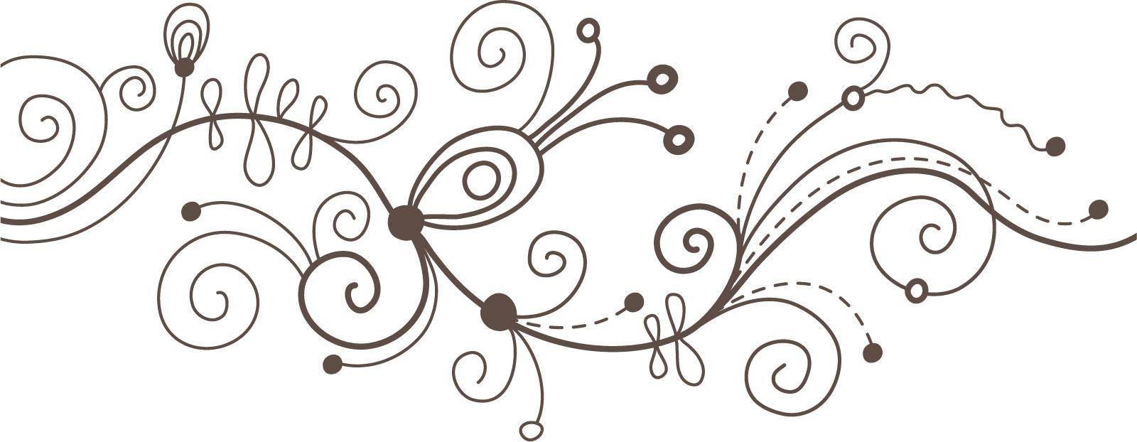 花のライン線イラスト-白黒 ...