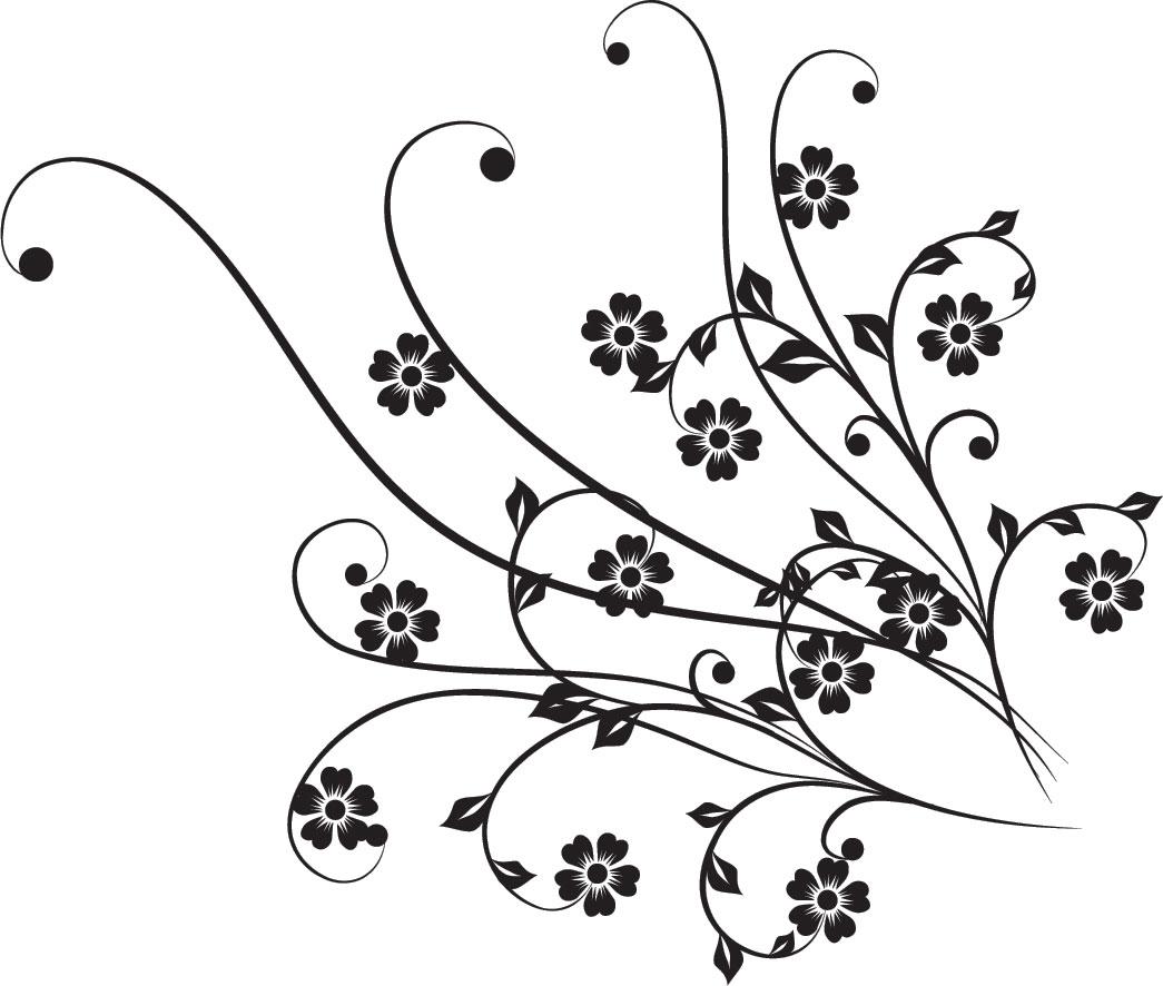 花のイラスト フリー素材 白黒 モノクロno 463 白黒 茎葉 5枚葉