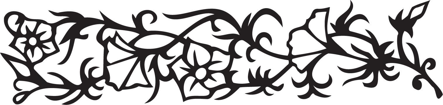 白黒 モノクロの花のイラスト フリー素材 ライン線 コーナー用no 9 白黒 切り絵風