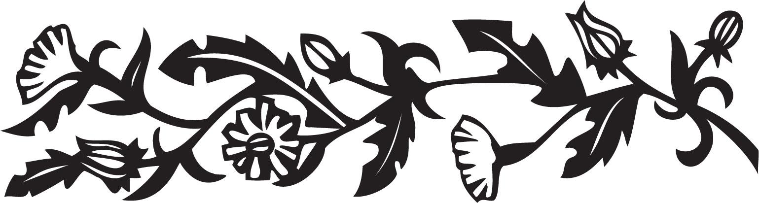 花のイラスト フリー素材 フレーム枠no 252 白黒 切り絵風