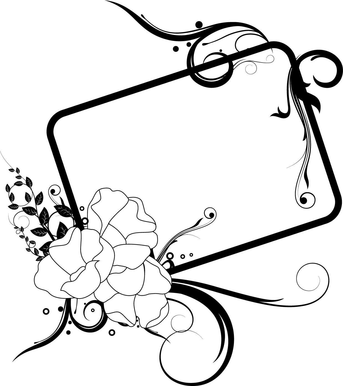 白黒の花のイラスト『フレーム・外枠』/無料のフリー素材集【百花繚乱】