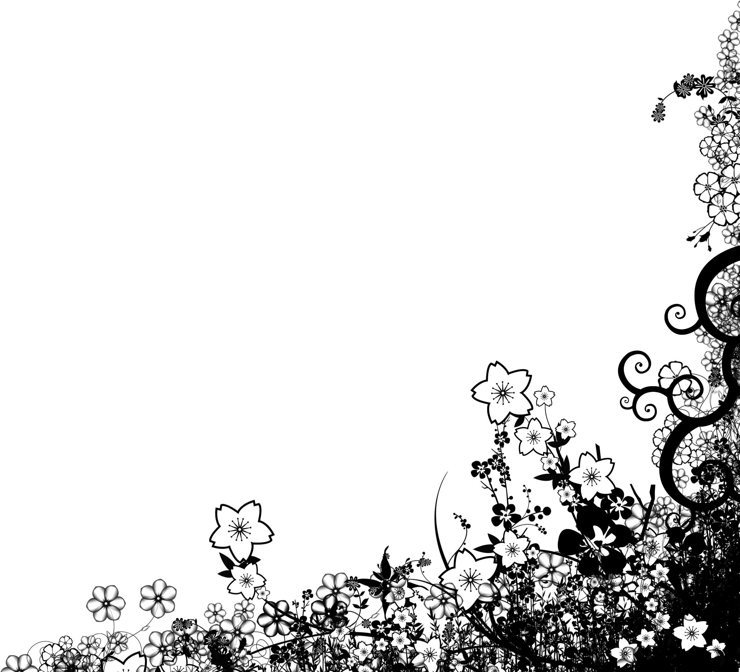 花のイラスト・画像・フリー素材 『白黒・モノクロ・シルエット』