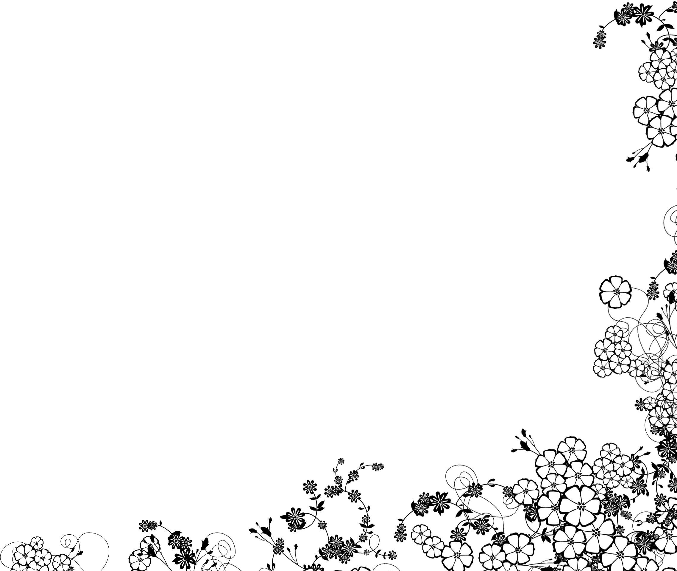 白黒モノクロの花のイラストフリー素材ライン線コーナー用no892