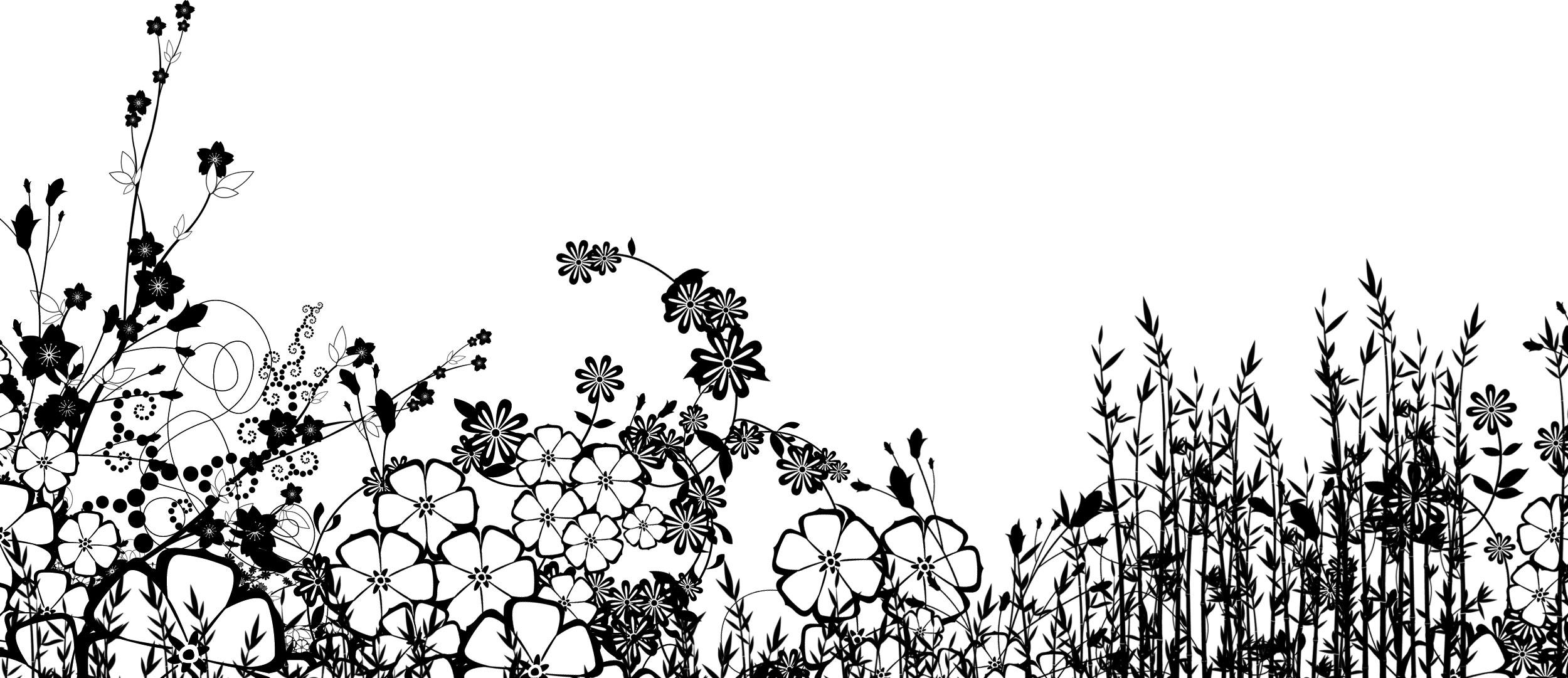 花のイラストフリー素材白黒モノクロno626白黒草花畑