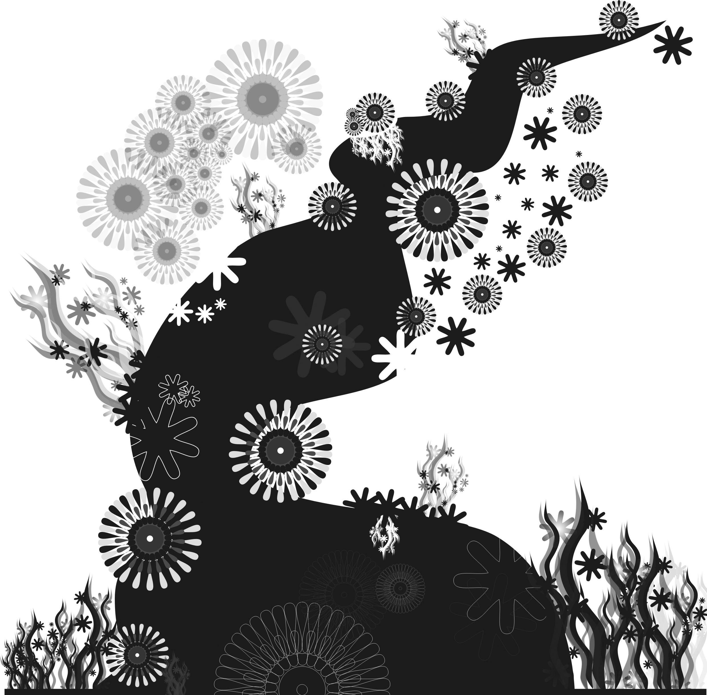 花のイラストフリー素材白黒モノクロno630白黒木幹草葉2