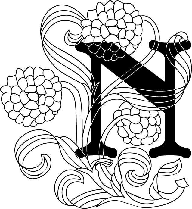 白黒モノクロの花文字イラストフリー素材英語の大文字no975花
