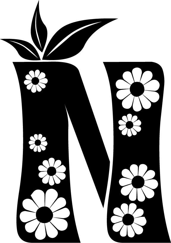 白黒モノクロの花文字イラストフリー素材英語の大文字no1053花