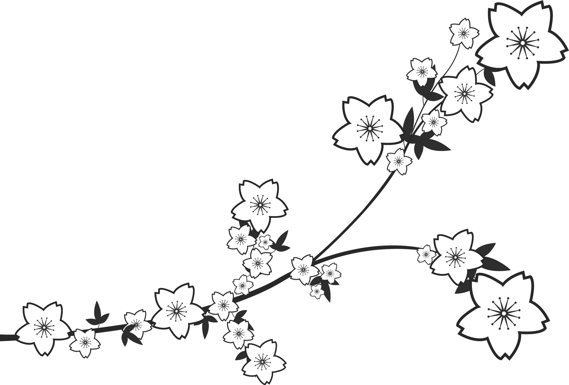 ポップでかわいい花のイラスト・フリー素材/no.1329『白黒・枝葉・桜型』